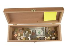 Wooden box  with money Stock Photos