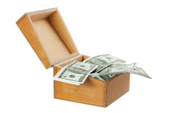 Wooden Box with Money Royalty Free Stock Image