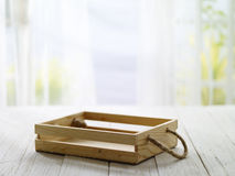 Wooden box with morning bright Royalty Free Stock Photo