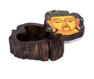 Wooden box for objects. Small thai wooden box for accessories with Buddha painting Royalty Free Stock Photography