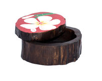 Wooden box for objects. Small thai wooden box for accessories Stock Photo
