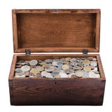 Wooden Box With Old Coins royalty free stock photography