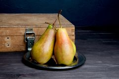 Pears on brown background Stock Photography
