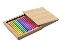 Wooden box with pencils Stock Photography