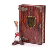 Wooden box for plum brandy. Wooden box for gift.  with clipping path Stock Images