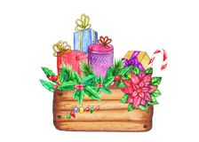 Wooden box with Christmas decorations and presents royalty free illustration