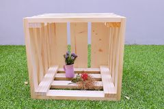 Wooden Box with Purple Little Flower in Pot Royalty Free Stock Image