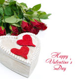 Wooden box with red hearts and roses Stock Image