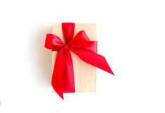 Wooden box with red ribbon with clipping path included Stock Photos