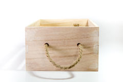 Wooden Box With Rope Handle royalty free stock image