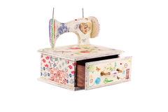 Wooden box with sewing machine. Royalty Free Stock Image
