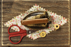 Wooden box for sewing Royalty Free Stock Image