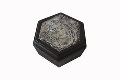 Wooden box with silver carving Stock Images