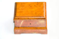 Wooden box. Solid poilished wooden box on white background Stock Photography