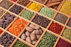Wooden box with spices Royalty Free Stock Photo