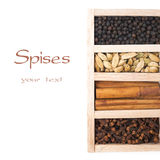 Wooden box with spices - cinnamon, cloves, black pepper and card Royalty Free Stock Images