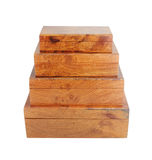 Wooden box stack on white background Royalty Free Stock Photo