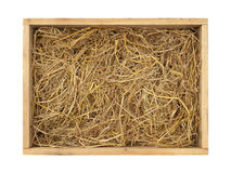 Wooden box with straw. With clipping path isolated on white background Royalty Free Stock Images