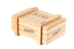 Wooden box for sugar Stock Photos