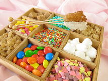 Wooden box with sweetmeats Stock Photo