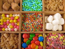 Wooden box with sweetmeats Stock Photography