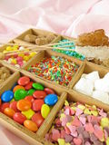 Wooden box with sweetmeats Royalty Free Stock Photography