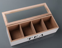 Wooden box for tea. With four compartments Royalty Free Stock Photos