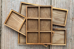 Wooden box tray Stock Photo