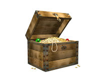 Wooden box with treasures. 3d. 3d the wooden box, filled with gold coins Stock Photography