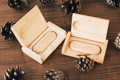 Wooden box with usb stick on dark  background Royalty Free Stock Images