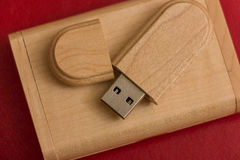 Wooden box with usb stick Royalty Free Stock Photography
