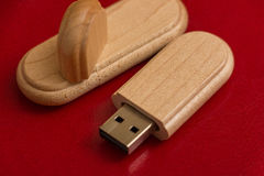 Wooden box with usb stick. Packaging for USB drives.  Wooden box with usb stick Royalty Free Stock Images