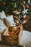 Wooden box with a variety of candy Stock Images
