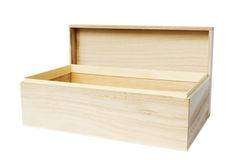 Wooden box on white Stock Photo