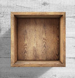 Wooden box on white wood background Royalty Free Stock Photography