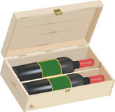 Wooden box for wine gift Stock Images