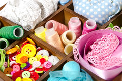Free Wooden Box With Accessories For Sewing Royalty Free Stock Images - 55367079
