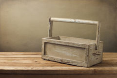 Wooden box on wooden table Royalty Free Stock Images