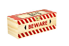Wooden Box with Wording Open if you Dare and Beware Royalty Free Stock Photo