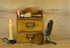 Wooden box with written implements Royalty Free Stock Photography