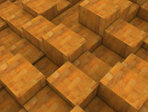 Wooden boxes. Abstract wooden boxes 3D image Stock Photo