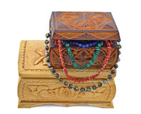 Wooden boxes with beads stock photo