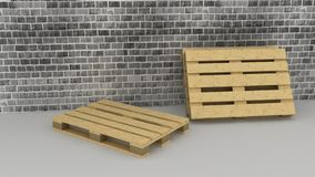Wooden boxes on brick wall background Stock Photo
