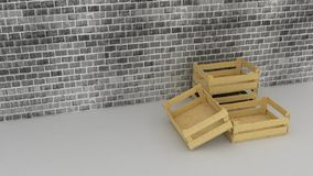 Wooden boxes on brick wall background Stock Image