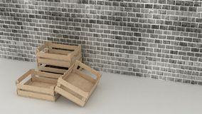 Wooden boxes on brick wall background Royalty Free Stock Image