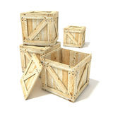 Wooden boxes. 3D render illustration. Isolated on a white background Stock Photography