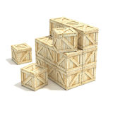 Wooden boxes. 3D render. Illustration isolated on a white background Royalty Free Stock Photo