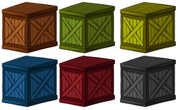 Wooden boxes in different colors Stock Photo