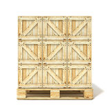 Wooden boxes on euro pallet. 3D render Stock Photo