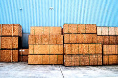 Wooden boxes in a factory Stock Image